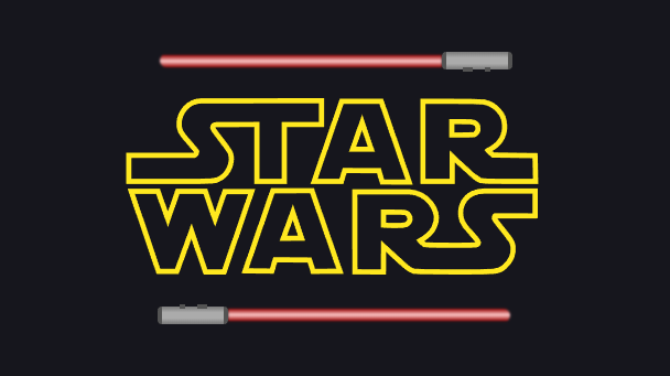 Star Wars logo and lightsaber logo